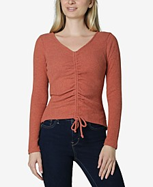 Juniors' Ribbed Ruched-Front Top