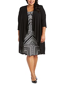 Plus Size Printed Necklace Dress & Draped-Front Jacket
