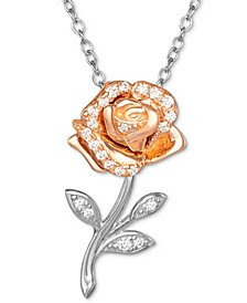 """Cubic Zirconia Beauty and the Beast Belle Rose 18"""" Pendant Necklace in Sterling Silver & 18K Rose Gold-Plate"""