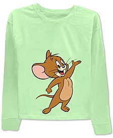 Juniors' Tom & Jerry Front & Back Graphic Print T-Shirt