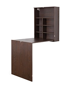 Wall Mount Laptop Fold-out Desk with Shelves