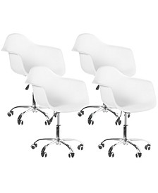 Mid-Century Modern Style Swivel Plastic Shell Molded Office Task Chair with Rolling Wheels, Set of 4