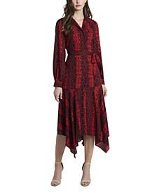 Women's Long Sleeve Asymmetrical Hem Printed Shirt Dress