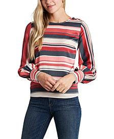 Women's Long Sleeve Gala Stripe Button Shoulder Blouse