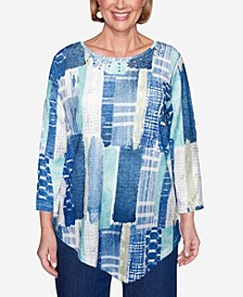 Women's Plus Size Denim Friendly Etched Patchwork Top