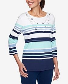 Women's Plus Size Denim Friendly Stripe Beaded Necklace Top