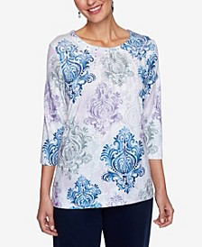 Women's Plus Size Relaxed Attitude Medallion Print Top
