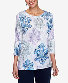 Alfred Dunner Women's Plus Size Relaxed Attitude Medallion Print Top