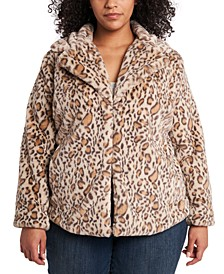Trendy Plus Size Printed Faux-Fur Jacket