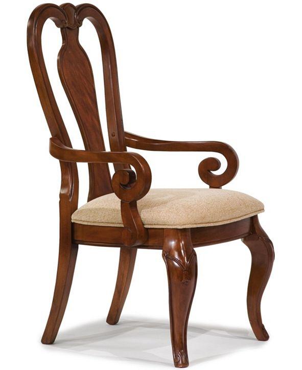 Furniture Evolution Queen Anne Arm Chair in Rich Auburn Finish Wood