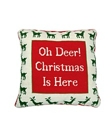 Christmas Cheer Red Oh Deer Christmas is Here Pillow, Created for Macy's,