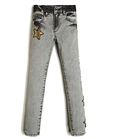 Big Girls Stretch Comfort Denim 5 Pocket Jean with Star Appliques