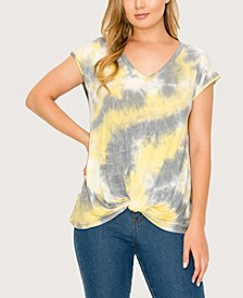 Women's Tie Dye V-Neck Twist Front T-shirt