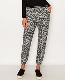 Women's Zebra French Terry Drawstring Jogger
