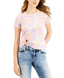 Juniors' Tie-Dye Printed Tie-Front T-Shirt
