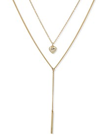 """Gold-Tone Heart Charm Layered Lariat Necklace, 16"""" + 3"""" extender"""