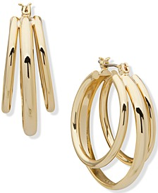 Gold-Tone Medium Triple-Row Hoop Earrings, 1.13""