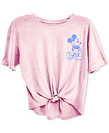 Trendy Plus Size Mickey Mouse Tie-Front T-Shirt
