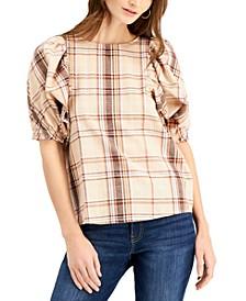 INC Plaid Puff-Sleeve Top, Created for Macy's