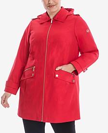 Plus Size Hooded Water-Resistant Raincoat