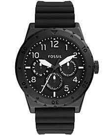 Men's Holt Black Leather Strap Watch 48mm