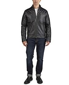 Men's Faux Leather Trucker Jacket
