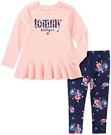 Little Girls Two Piece Knit Tunic Top with Floral Print Leggings Set