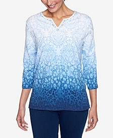 Women's Missy Denim Friendly Skin Ombre Medallion Top