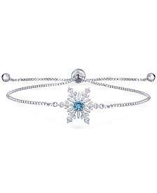 Blue Topaz (1/2 ct. t.w.) & Cubic Zirconia Snowflake Bolo Bracelet in Sterling Silver