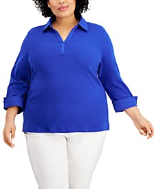 Plus Size Cotton Johnny Collar 3/4-Sleeve Top, Created for Macy's