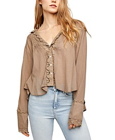 Clemence Button-Down Lace-Trimmed Blouse