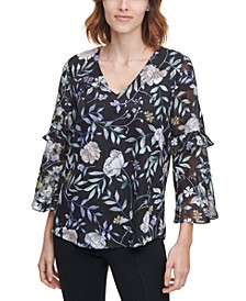 Printed Sheer-Sleeve Top