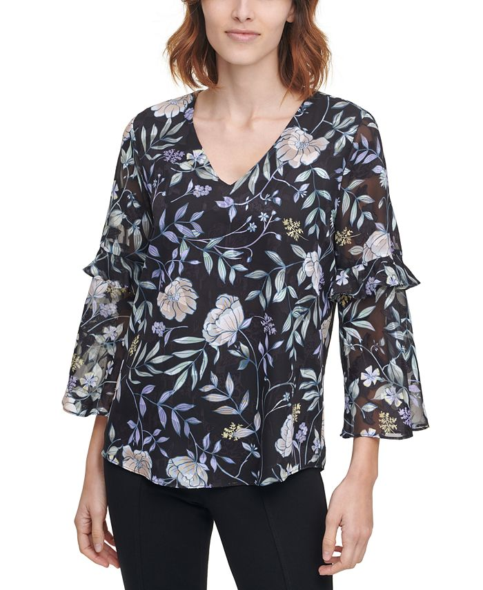 Calvin Klein - Printed Sheer-Sleeve Top
