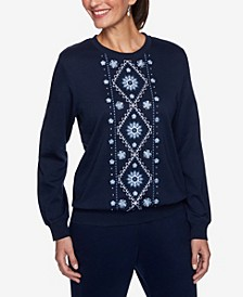 Women's Missy Relaxed Attitude Banded Bottom Embroidery Top