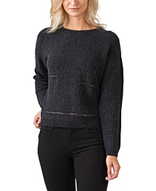 Women's Black Label Metal Chain Crewneck Pullover Sweater