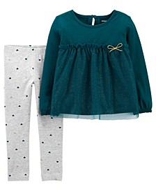 Carters Toddler Girl 2-Piece Tulle Jersey Top & Legging Set
