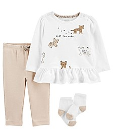 Carters Baby Girl 3-Piece Leopard Peplum Top & Pant Set