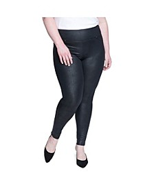 Women's Plus Size Tummy Toner Pull-on Coated Ponte Pants