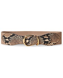 Snake-Embossed Wide Stretch Belt