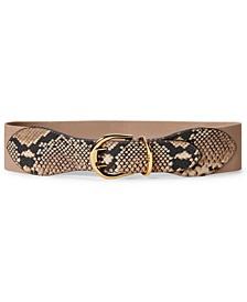 로렌 랄프로렌 Lauren Ralph Lauren Snake-Embossed Wide Stretch Belt,Natural