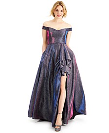 Juniors' Off-The-Shoulder Glitter Gown
