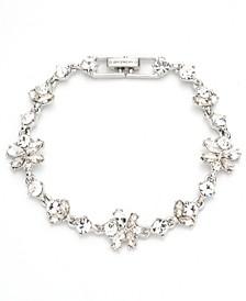 Silver-Tone Crystal Cluster Flex Bracelet