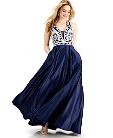 Juniors' Halter Embroidered V-Neck Gown