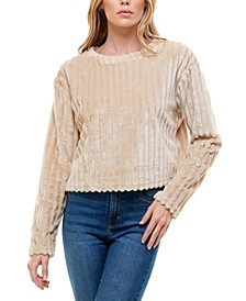 Juniors' Ribbed Faux-Fur Top