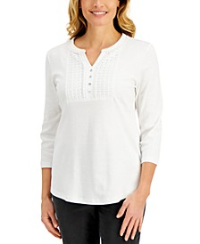Petite Cotton Crochet-Trim Henley, Created for Macy's