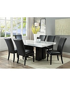Camila Rectangle Dining Table and Black Dining Chair 7-Piece Set, Created for Macy's