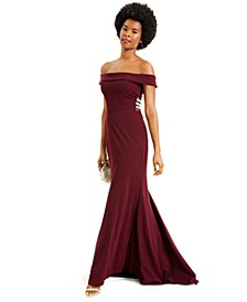 Juniors' Off-The-Shoulder Beaded Side Gown