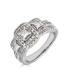 Diamond 3-Stone Princess Cut (1 ct. t.w.) Ring in 14K White Gold