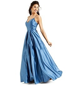 Juniors' Lace-Up-Back Gown
