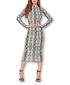 Women's Snake Print Bodycon Midi Dress